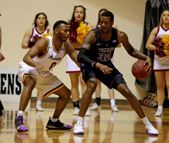 Midwestern State's JaJuan Starks guards Tarleton's Josh Hawley Saturday, Jan. 5, 2019, at D.L. Ligon Coliseum.