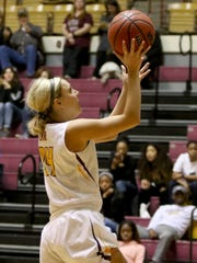 Midwestern State's Courtney Kerr attempts a layup but the ball rolls out in the game against Tarleton Saturday, Jan. 5, 2019, in D.L. Ligon Coliseum at MSU. The Texans defeated the Mustangs 80-68.