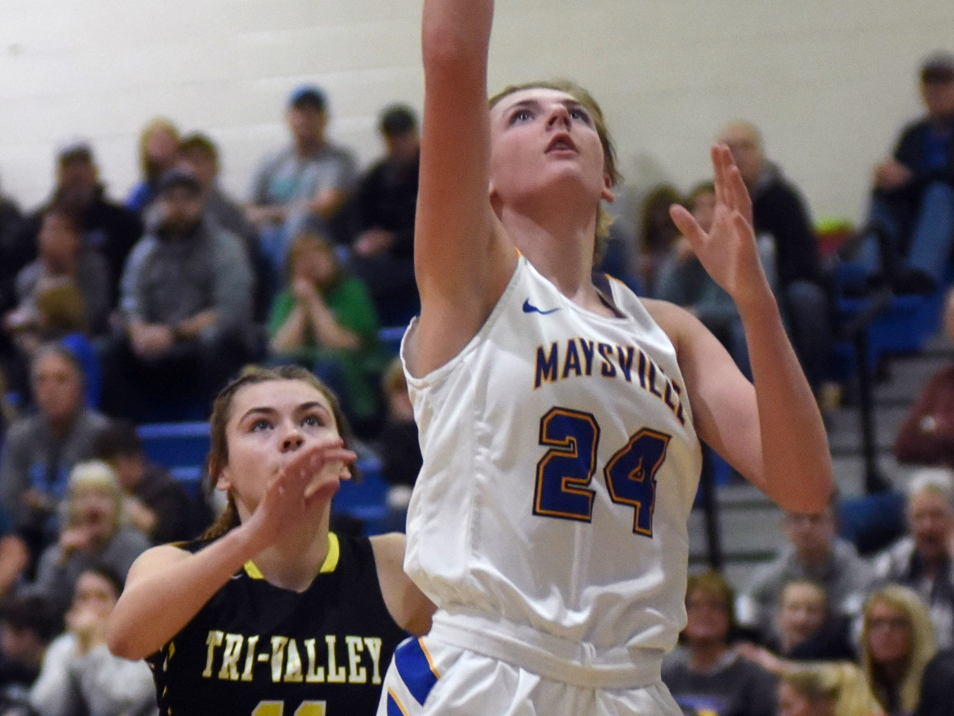 Maysville's Alexis Samson shoots in the line against Tri-Valley.