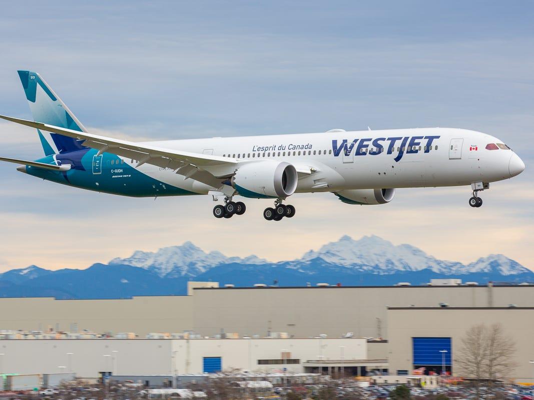 WestJet's first Boeing 787 Dreamliner takes flight from Everett, Washington