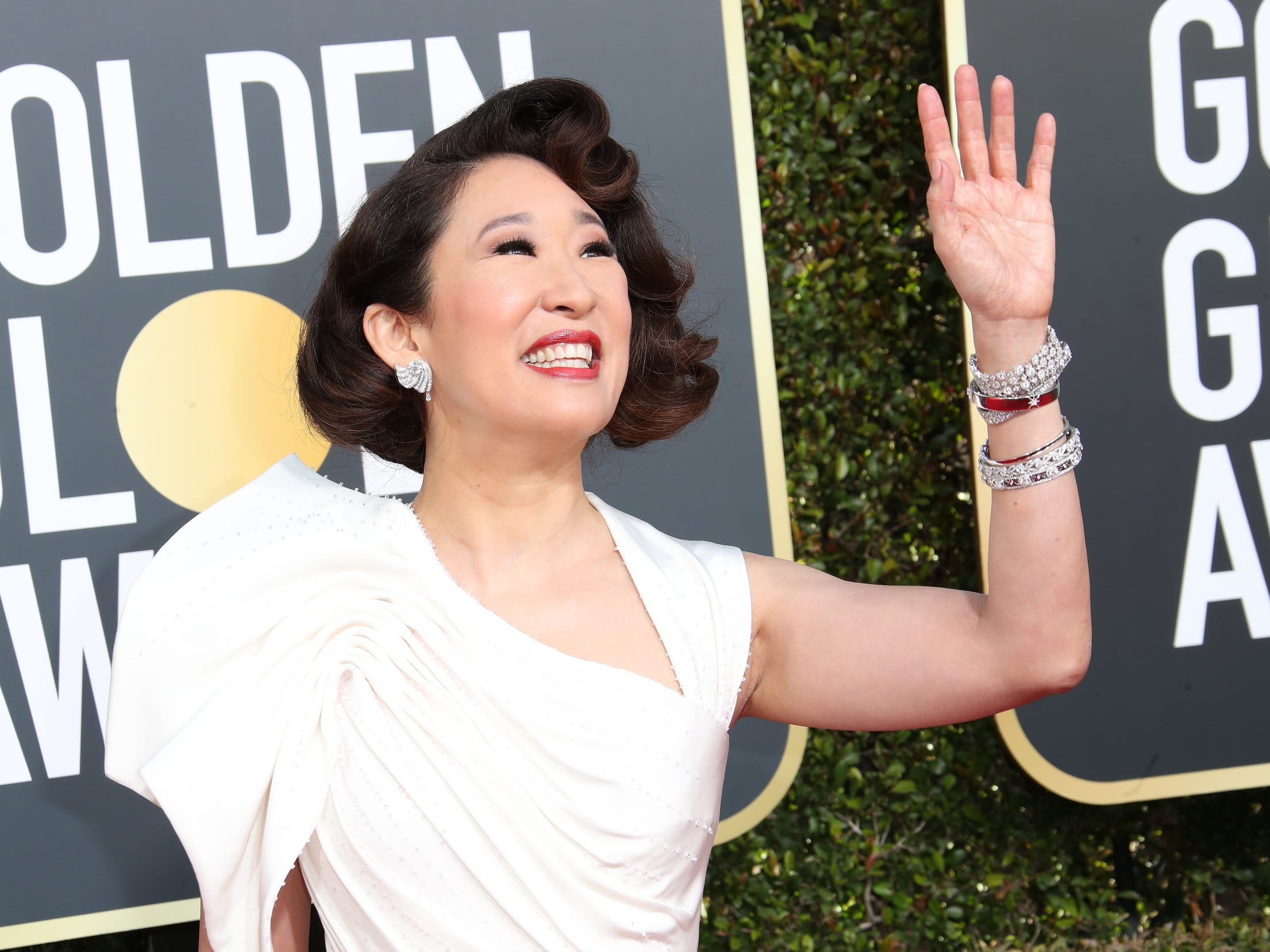 Golden Globes co-host Sandra Oh arrives