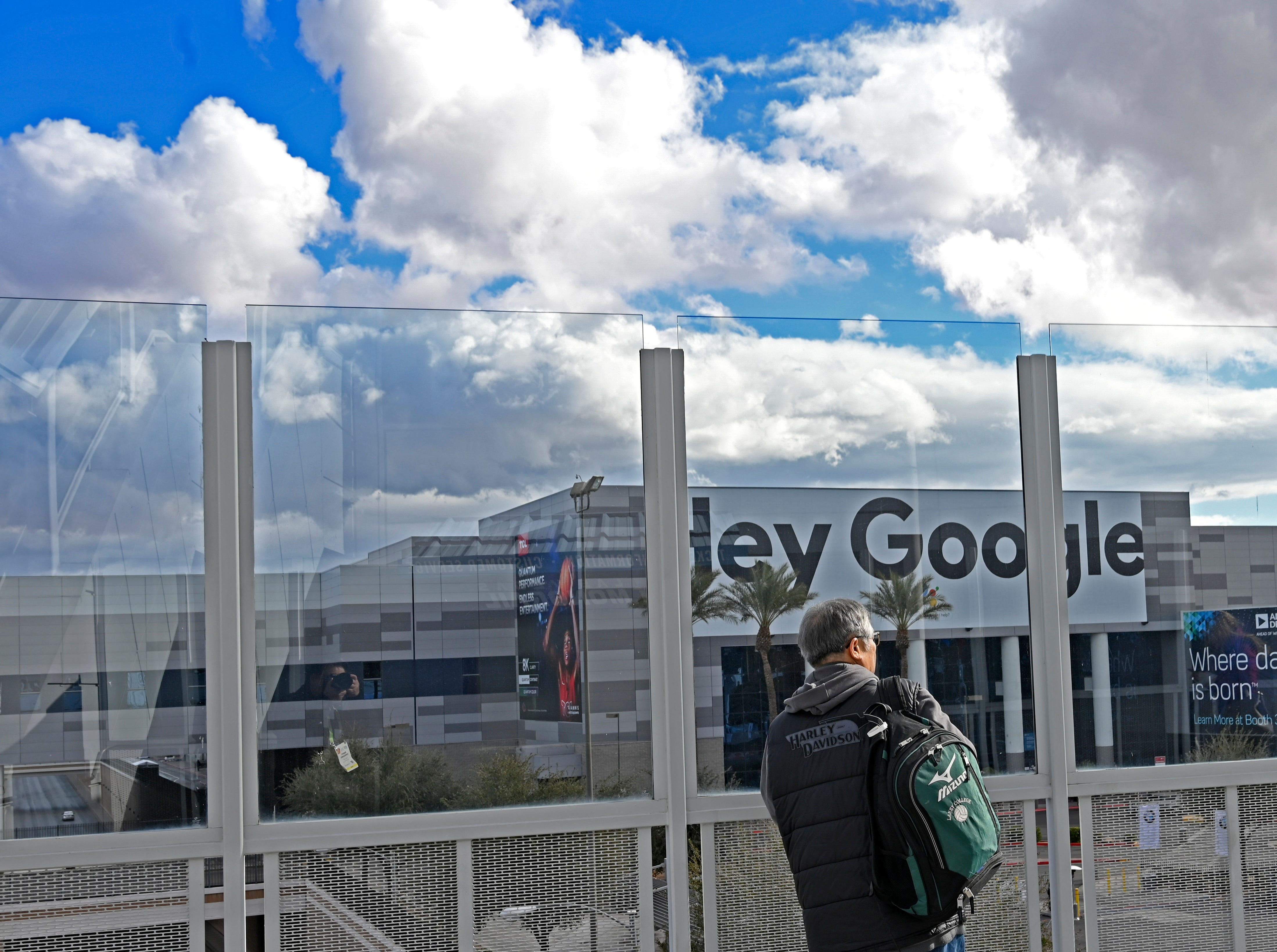 Google looms large in this view of the Las Vegas Convention Center South Hall.