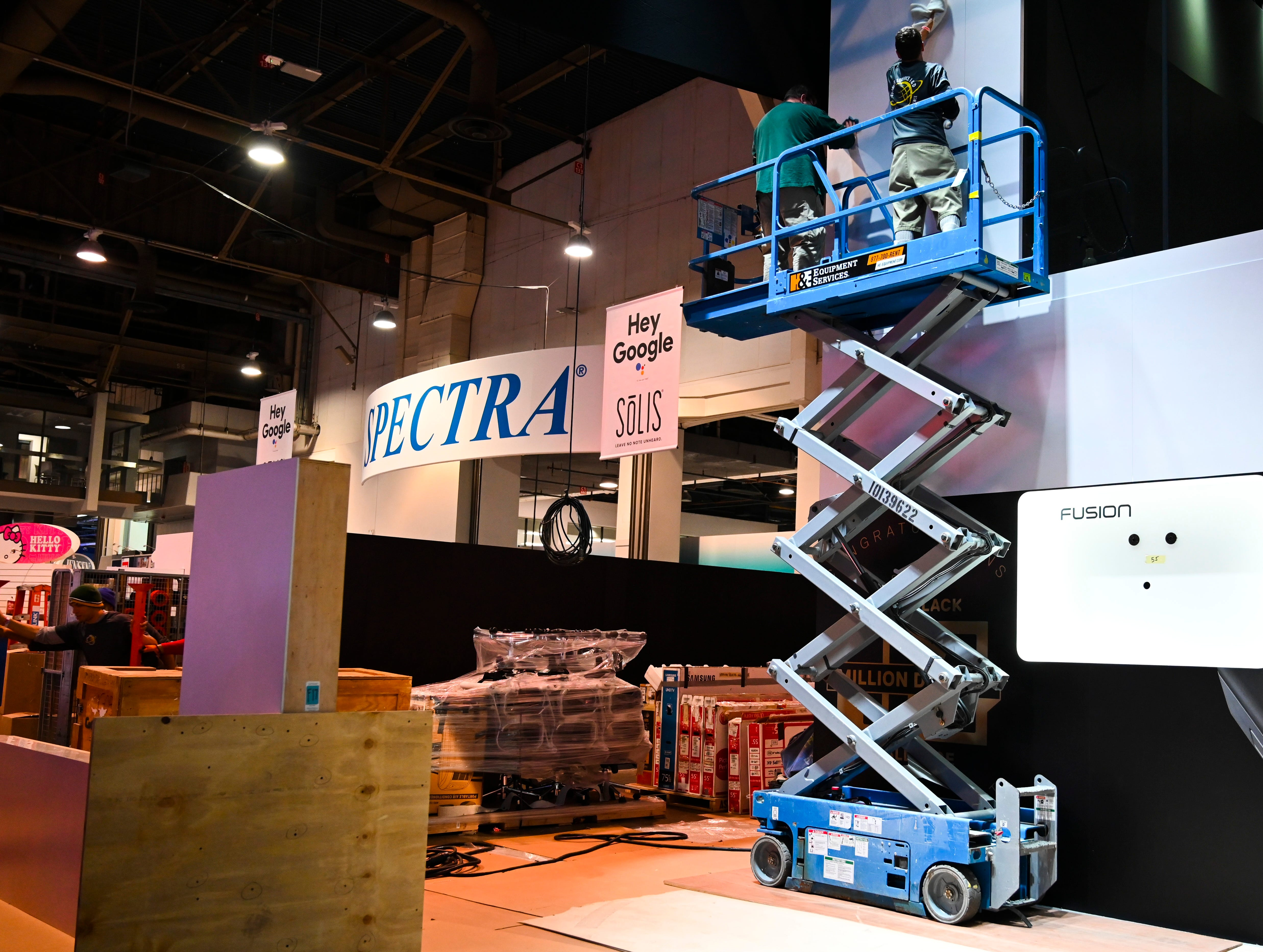 The Las Vegas Convention Central Hall was a buzz of activity as work crews finished up construction of displays in preparation for Consumer Electronics Show 2019.