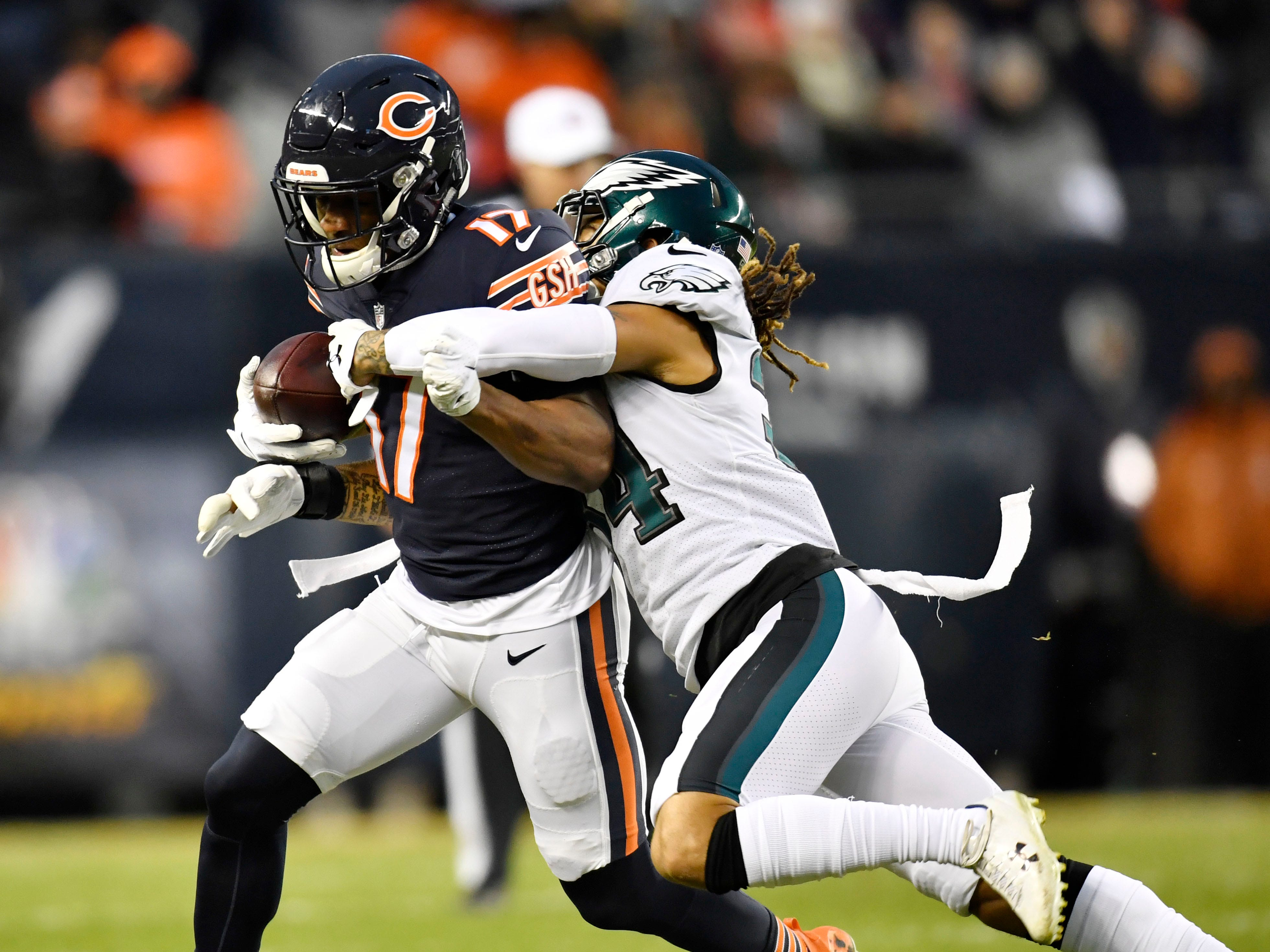 Chicago Bears wide receiver Anthony Miller (17) is tackled by Philadelphia Eagles cornerback Cre'von LeBlanc (34) in the first half a NFC Wild Card playoff football game at Soldier Field.
