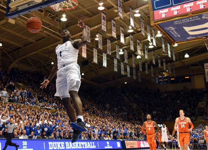 Duke Blue Devils forward Zion Williamson (1) dunks during the second half against the Clemson Tigers.