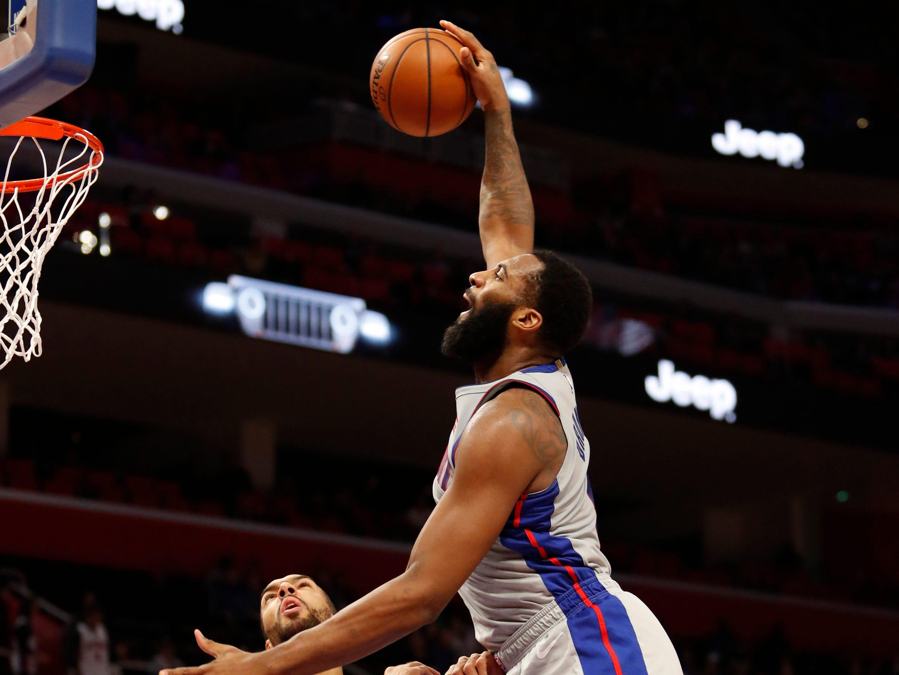 Jan. 5: Detroit Pistons center Andre Drummond dunks the ball against Utah Jazz center Rudy Gobert during the first quarter at Little Caesars Arena.