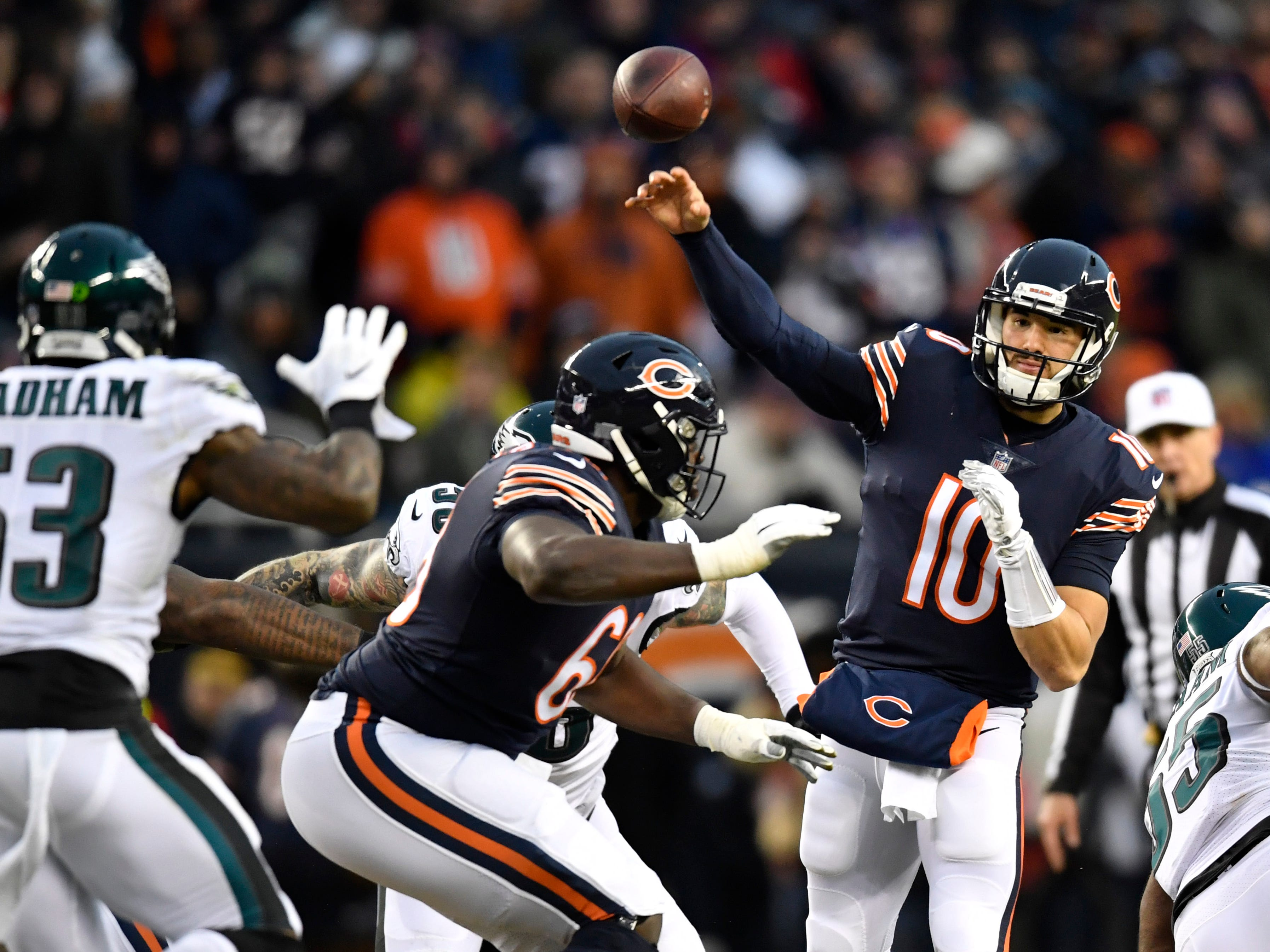 Chicago Bears quarterback Mitchell Trubisky (10) throws a pass against the Philadelphia Eagles in the first half a NFC Wild Card playoff football game at Soldier Field.