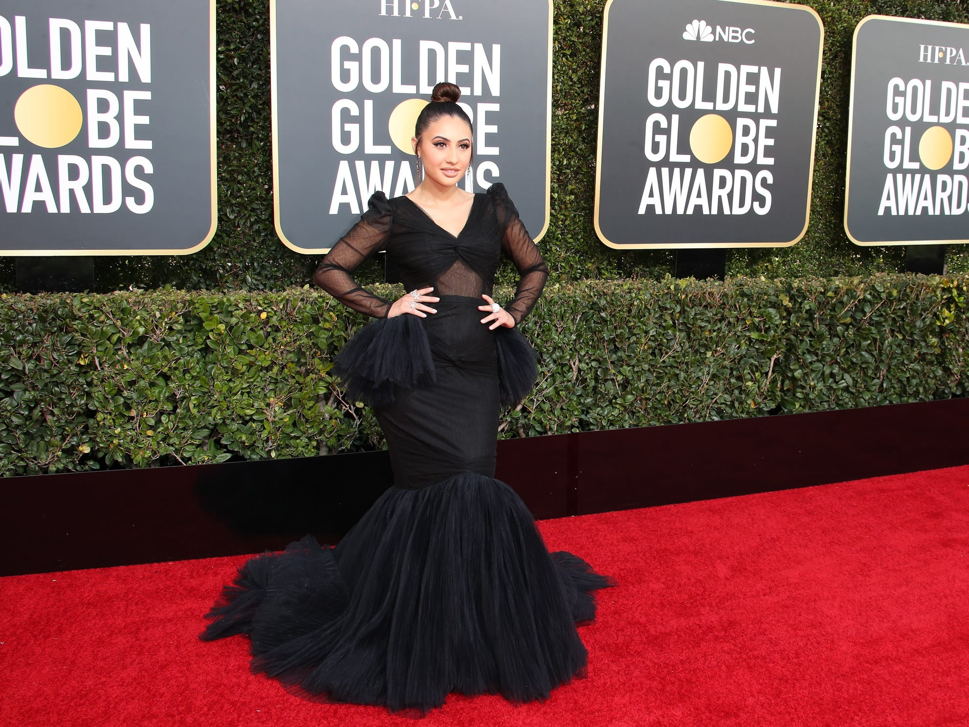 Francia Raisa arrives on the 76th Golden Globe Awards red carpet, Sunday at the Beverly Hilton.