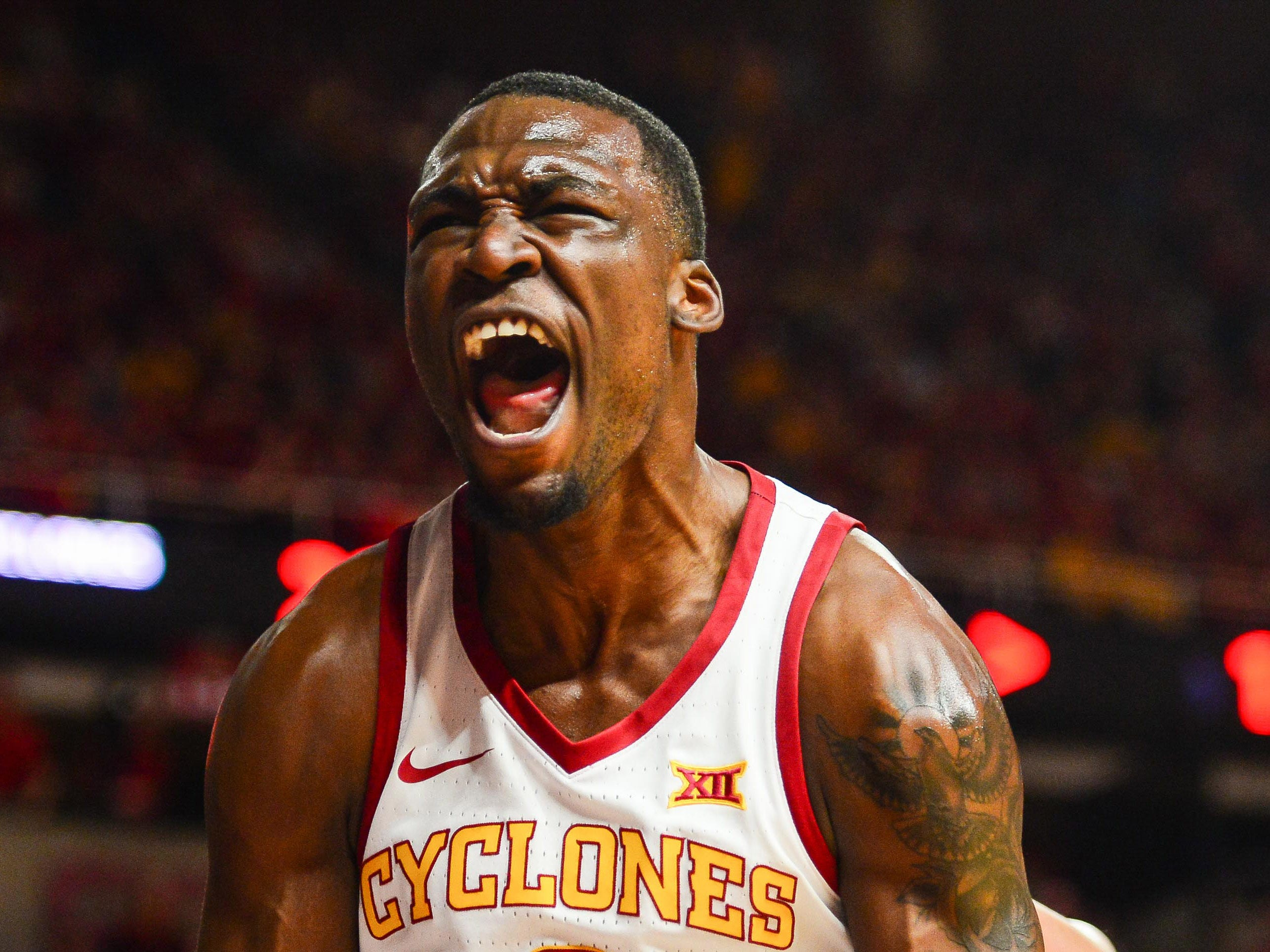 Iowa State Cyclones forward Cameron Lard (2) reacts during the first half against the Kansas Jayhawks at Hilton Coliseum.