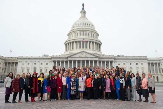 House Speaker Nancy Pelosi with all the female Democrats of the 116th Congress on Jan. 4, 2019.