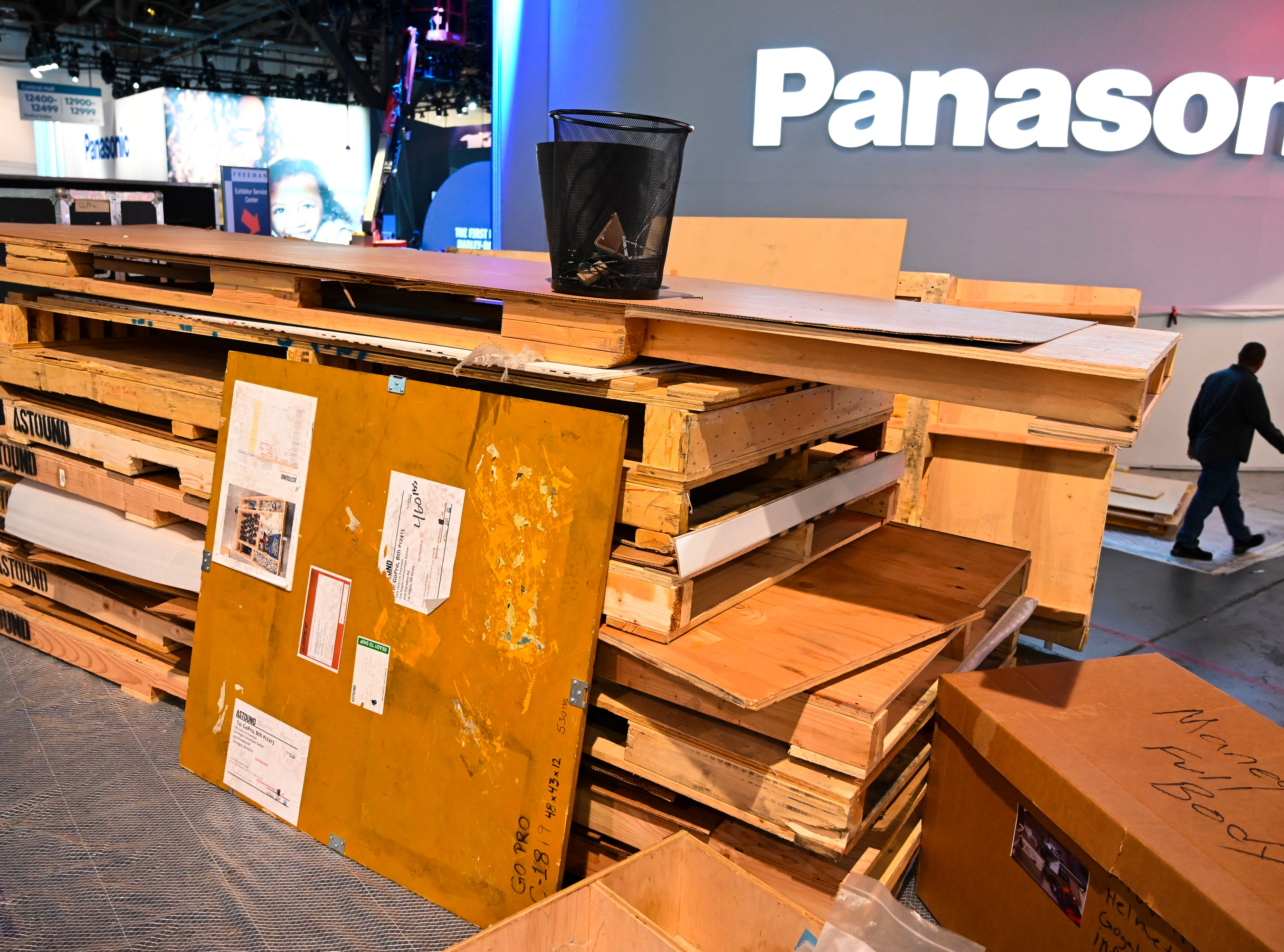Pallets and crates stacked up in the Central Hall of the Las Vegas Convention Center as work crews finished up constructing displays.