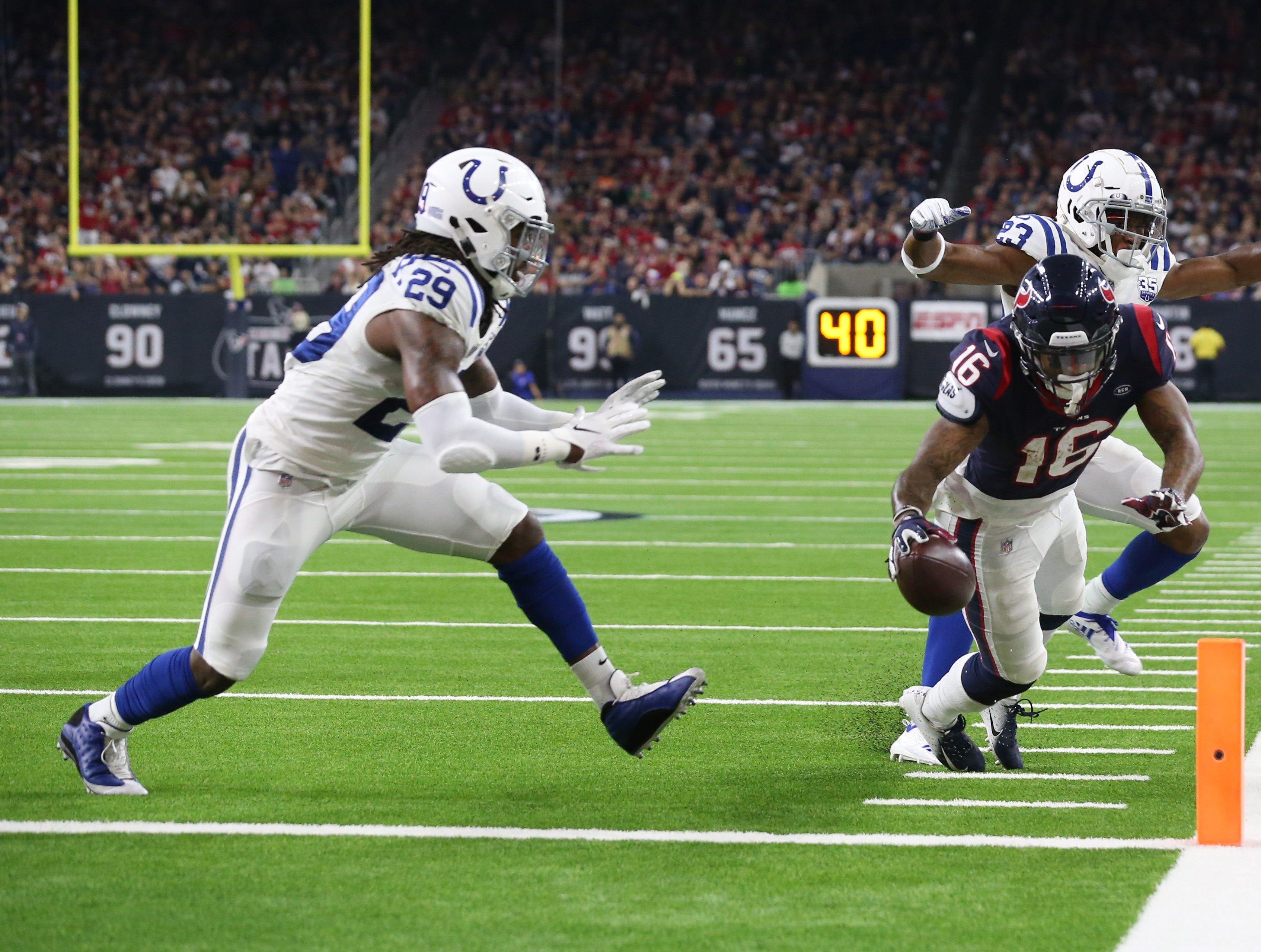 Houston Texans wide receiver Keke Coutee (16) scores a touchdown against the Indianapolis Colts in the second half at NRG Stadium.