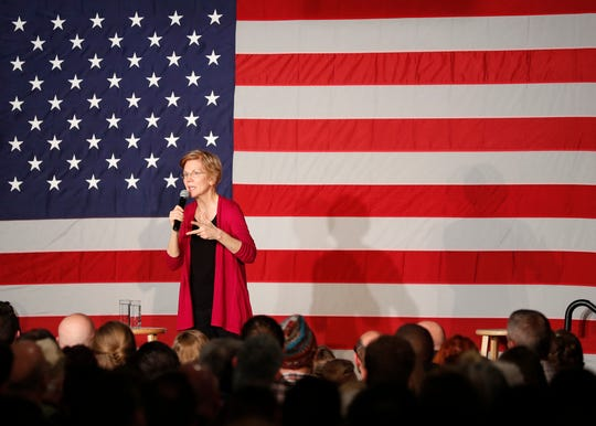Sen. Elizabeth Warren on her first tour as a 2020 presidential prospect, Des Moines, Iowa, Jan. 5, 2019.