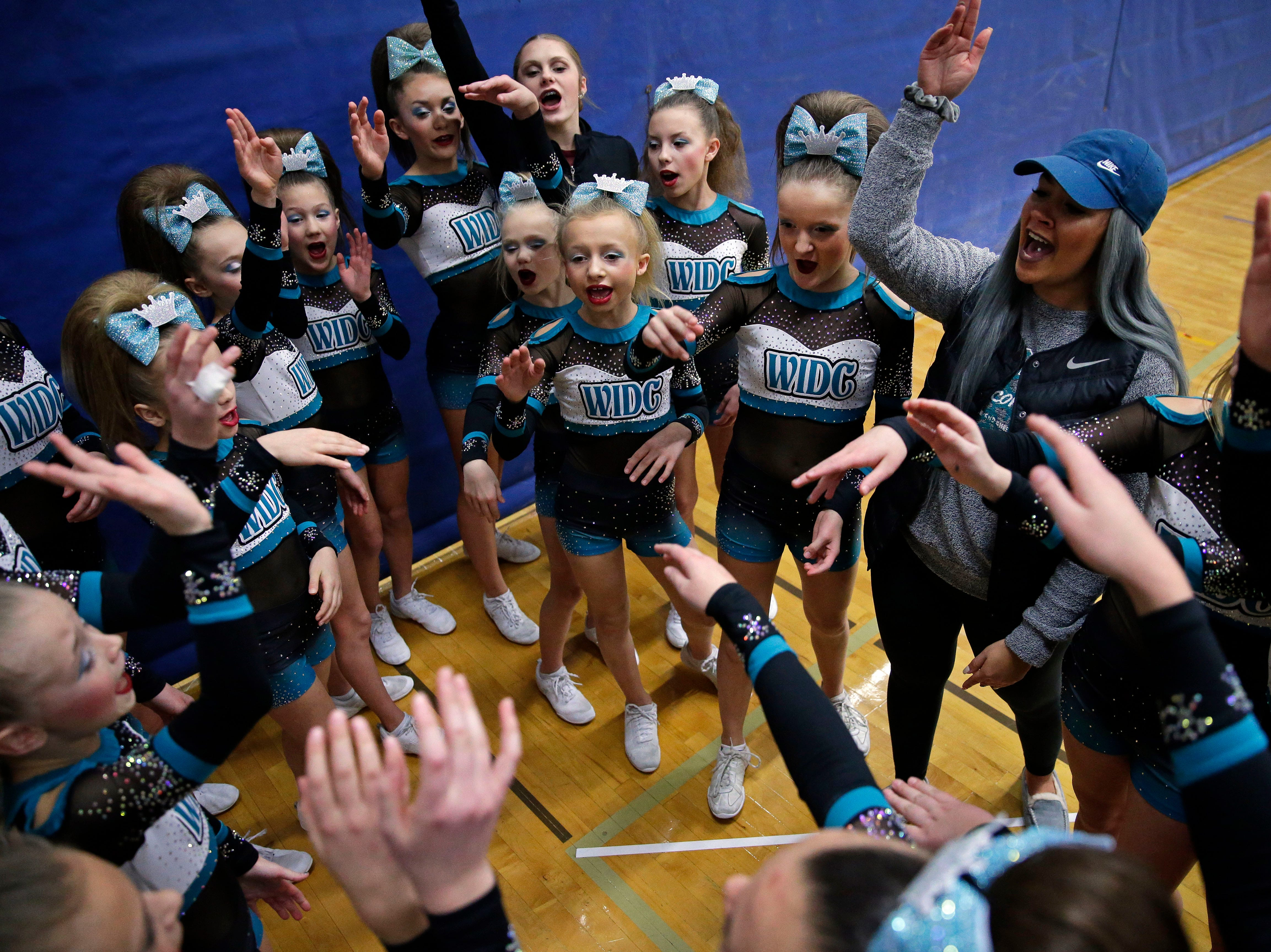 The WIDC Hailstorm team gets ready to take the floor as the Lightning Bolt Explosion Cheer and Dance competition takes place Saturday, January 5, 2019, at Appleton North High School in Appleton, Wis.Ron Page/USA TODAY NETWORK-Wisconsin