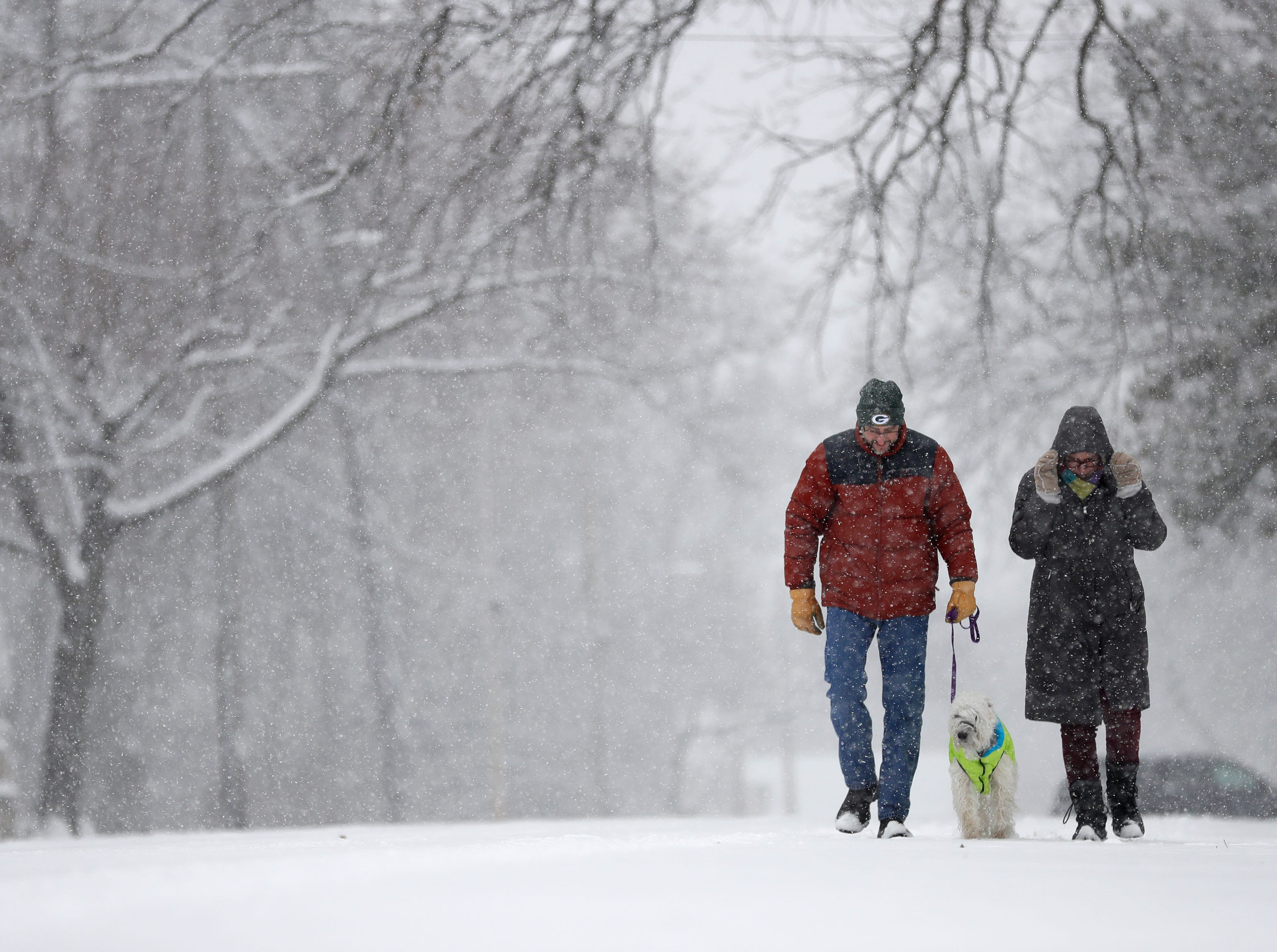 Mike and Trisha McGinnis of Neenah take a walk with their dog Cricket along N. Park Avenue during a snow storm Monday, December 31, 2018, in Neenah, Wis. Dan Powers/USA TODAY NETWORK-Wisconsin