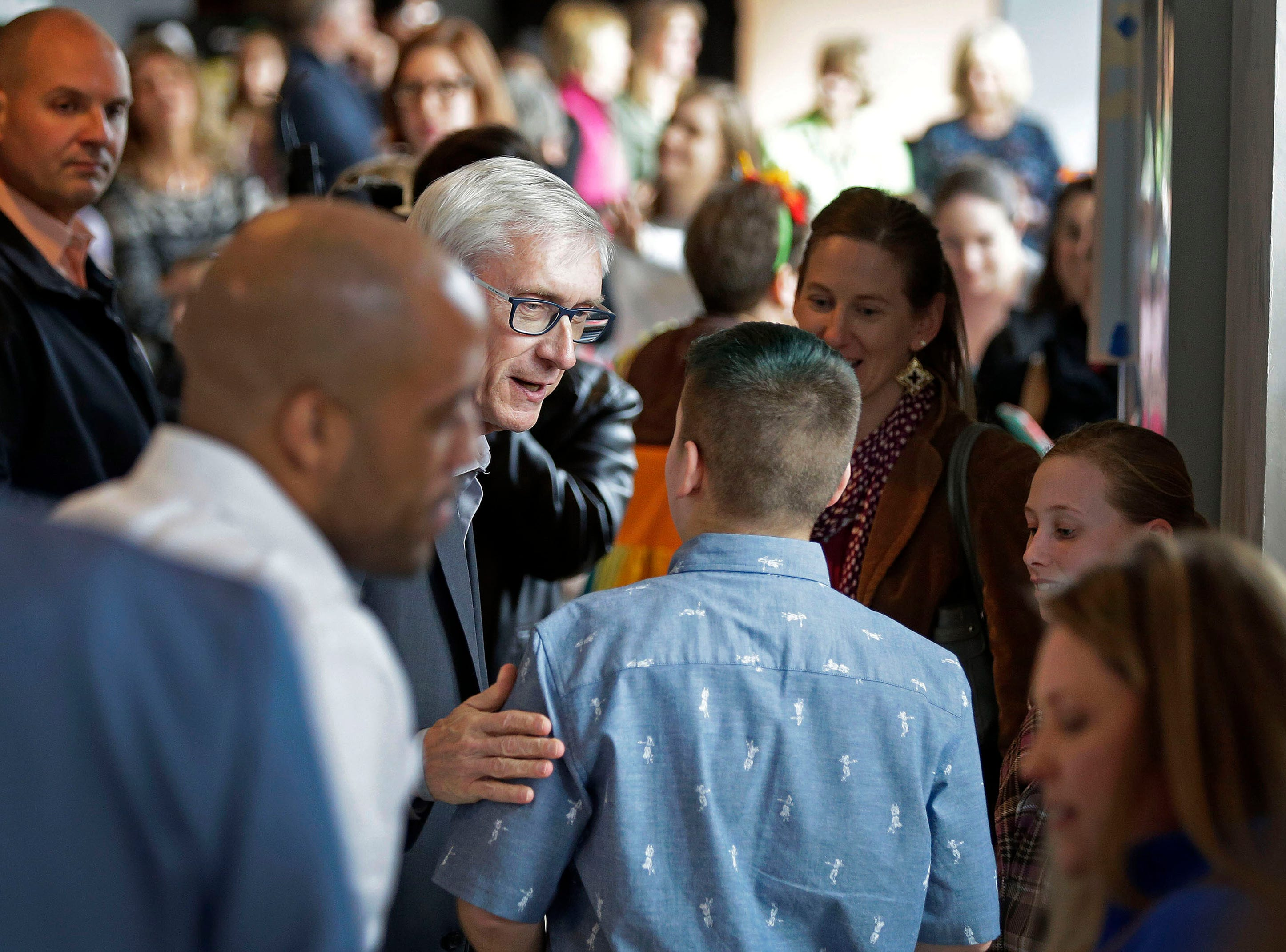 Governor-elect Tony Evers and Lieutenant Governor-elect Mandela Barnes greet attendees as they arrive to take part in the Inaugural Appleton Kids Gala Sunday, January 6, 2019, at the Fox Cities Performing Arts Center in Appleton, Wis. The gala was one of three over the weekend. Events were held in Madison and Milwaukee on Saturday.Ron Page/USA TODAY NETWORK-Wisconsin