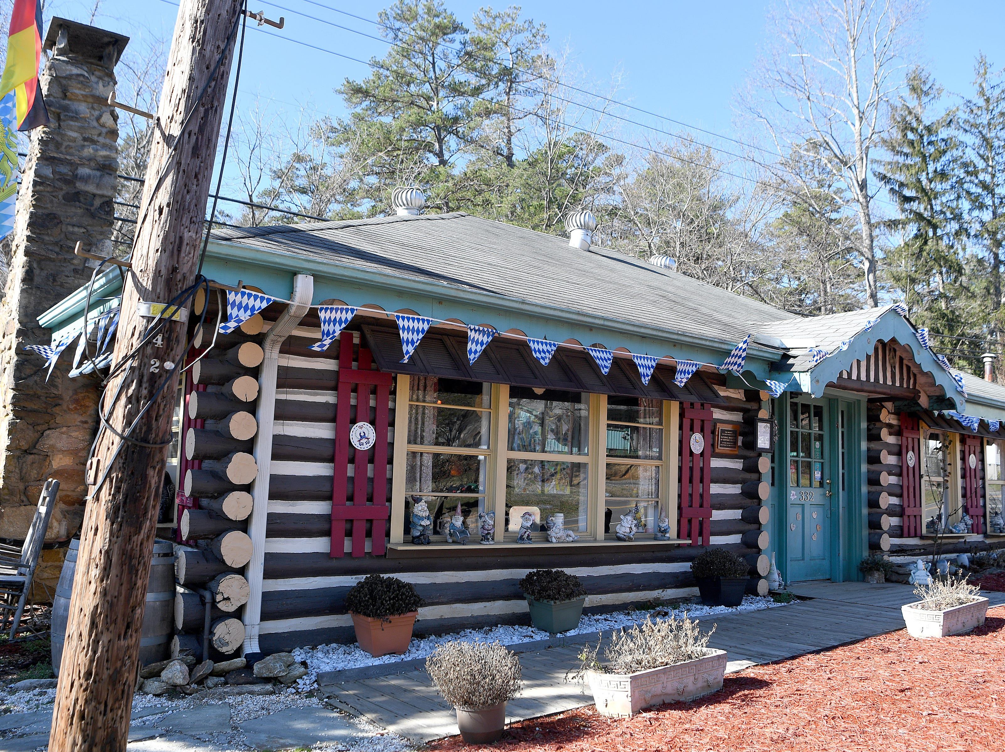 The Bavarian Restaurant & Biergarten is located in an old log cabin that is on the National Register of Historic Places.