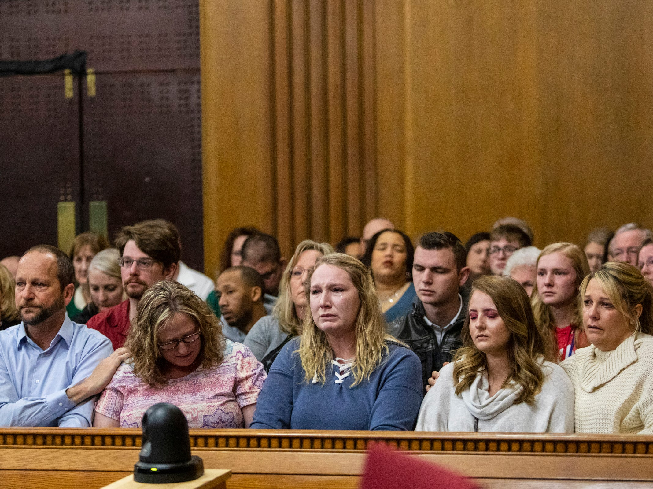 Family members pf victims react as Jason Dalton pleads guilty to six counts of murder and several other charges at the Kalamazoo County Courthouse on Monday, Jan. 7, 2019 in Kalamazoo, Michigan.  Dalton, who was driving for Uber at the time shot eight people killing six of them, on Saturday, Feb. 20, 2016. Opening statements in the trial were scheduled to begin Tuesday, Jan. 8. (Joel Bissell | MLive.com)