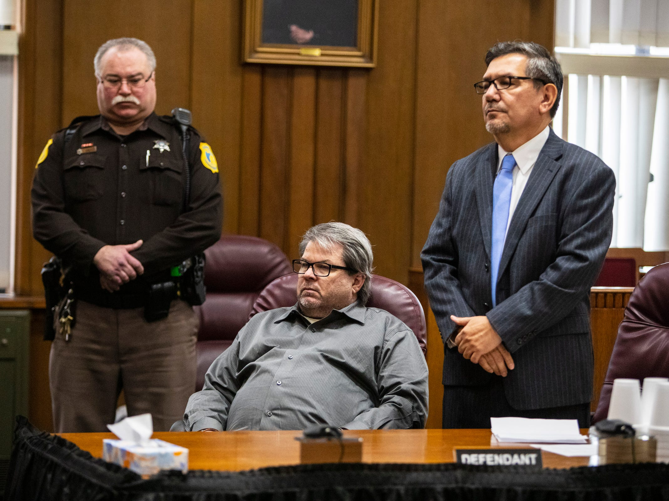 Jason Dalton moments before pleading guilty to six counts of murder and several other charges at the Kalamazoo County Courthouse on Monday, Jan. 7, 2019 in Kalamazoo, Michigan.  Dalton, who was driving for Uber at the time shot eight people killing six of them, on Saturday, Feb. 20, 2016. Opening statements in the trial were scheduled to begin Tuesday, Jan. 8. (Joel Bissell | MLive.com)