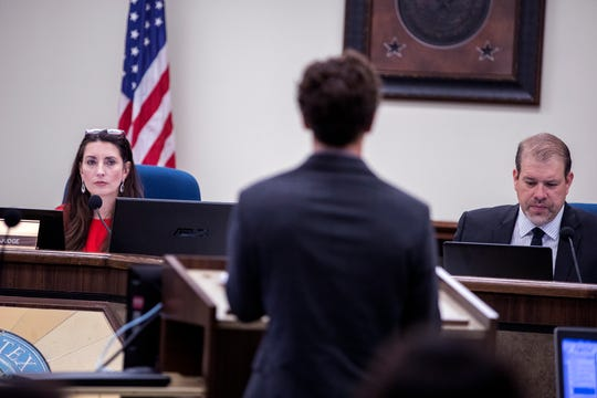 Nueces County Judge Barbara Canales (left) and Commissioner John Marez (right) listen as Jeff Pollack, director of planning for the Port of Corpus Christi, addresses the commissioners court at their first meeting of the year on Monday, January 7, 2019 at the Nueces County Courthouse. Canales is the first woman appointed to the highest seat in the county.