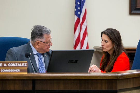 Nueces County Commissioner Joe A. Gonzalez talks with County Judge Barbara Canales before her first commissioner's court meeting on Monday, January 7, 2019 at the Nueces County Courthouse. Canales is the first woman appointed to the highest seat in the county.