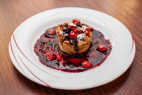 Redz' Chef Dinner will include a white- and dark-chocolate cherry bread pudding.