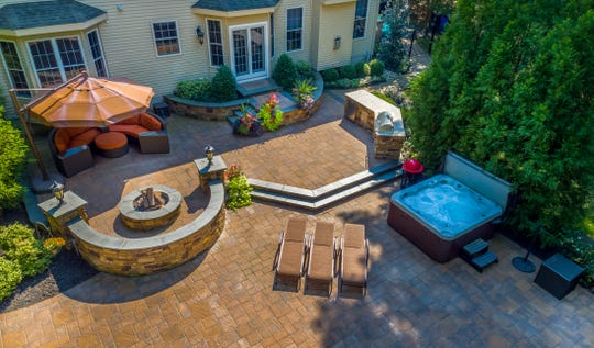 This aerial photo shows an outdoor-living space by Elite Landscaping in Berlin. Elite's booth at the Philly Home Show will replicate an outdoor patio space.