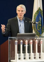 U.S. Sen. Rob Portman held a brief press conference with U.S. Rep. Brad Wenstrup on Monday, January 7, 2019, at the American Centrifuge Plant to announce the $115 million investment over the next three years  to create a 16-machine centrifuge test cascade.