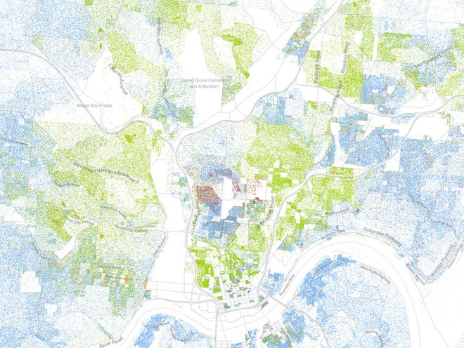 Cincinnati as shown on The Racial Dot Map produced by the University of Virginia.