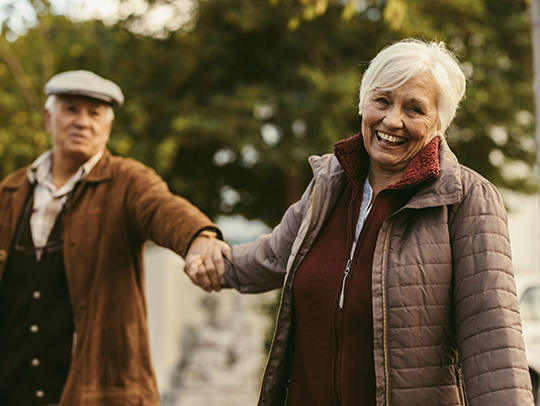 What is the best way of all to get a reluctant senior to exercise more? Join them. A trip to an indoor retail area, museum, or garden can make for an active day.