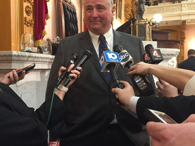 Speaker Larry Householder addresses media after winning the top spot in the Ohio House of Representatives.