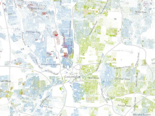Columbus as shown by the University of Virginia's Racial Dot Map.
