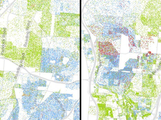 """On the left, Section Avenue divides predominately black Bond Hill from a predominantly white area of Norwood. On the right, the """"uptown area"""" shows sharp divides by race on its southern border with West End, Over-the-Rhine and Mount Auburn."""