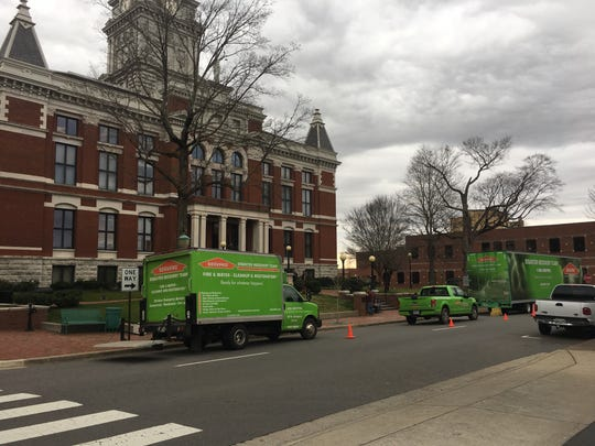 The Servpro Disaster Recovery Team was on the scene Monday at the Montgomery County Courthouse to clean up heavy water damage.