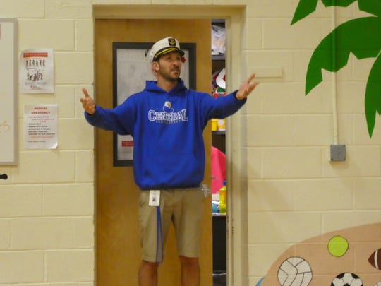 John Tsihlas, Physical Education teacher for Central School, Warren,  and Mt. Horeb School, Warren, dressed as the captain and ready to play Shipwreck.