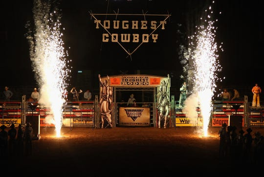 Fireworks before the start of the World's Toughest Rodeo in 2009 in Glendale, Ariz.