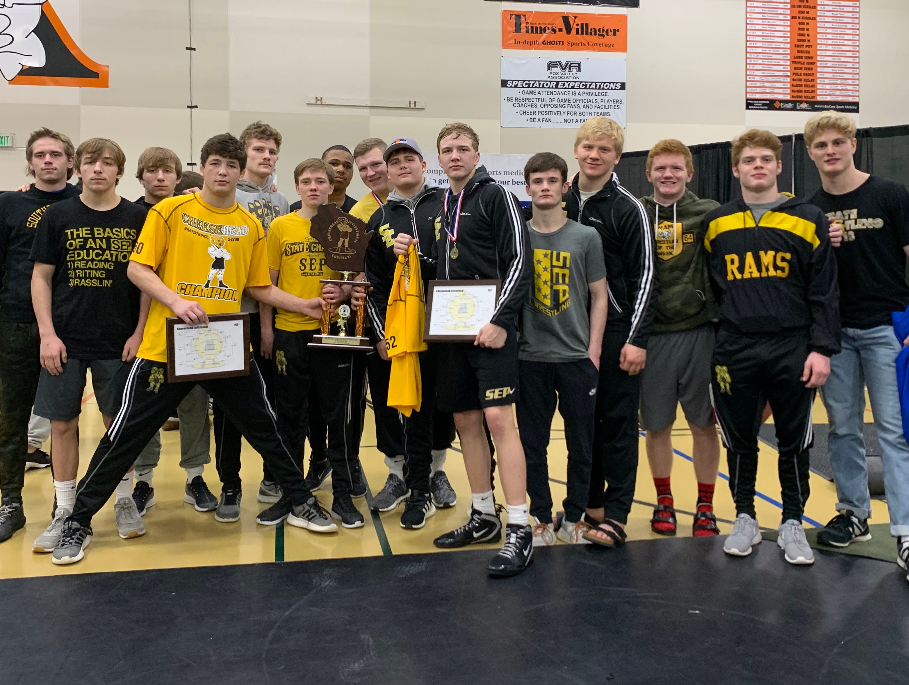 The Rams finished fourth with three individual champions at the Cheesehead Invitational at Kaukauna High School.