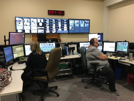 Christy Gurwell and Steve Garrett, Warren County Dispatchers, are two of the nine full-time  employees on the other end of the line when 911 calls are placed. From their dispatch center they keep an eye on a variety of screens and systems.
