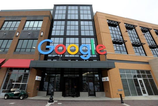 The exterior with the colorful Google name at the Little Caesars Arena in Detroit on Wednesday, November 7, 2018.