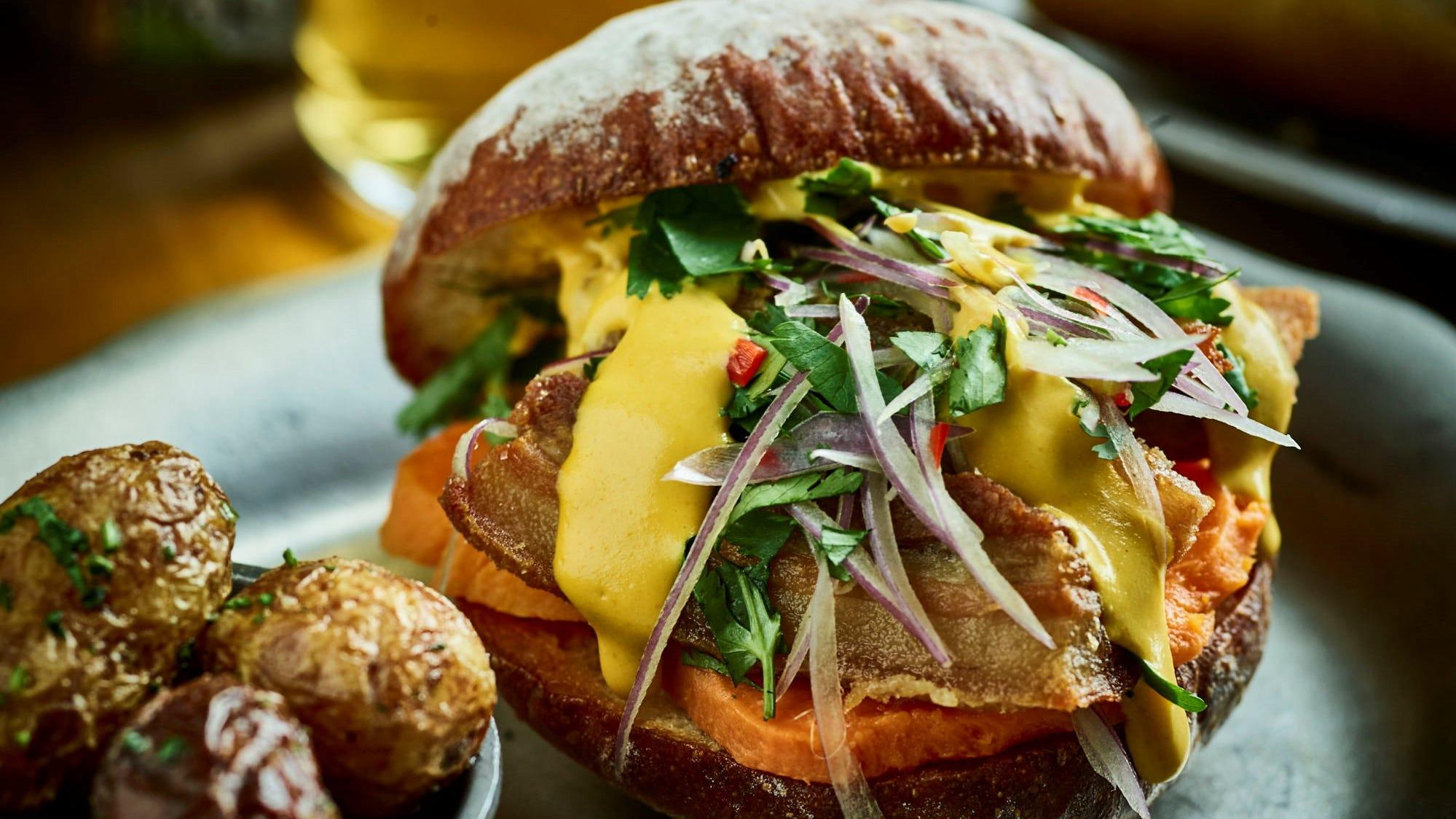 Pan con chicharron -- a Peruvian crispy pork belly sandwich -- will be on the menu at Latido at Joebar when it debuts in Hazel Park Jan. 22.