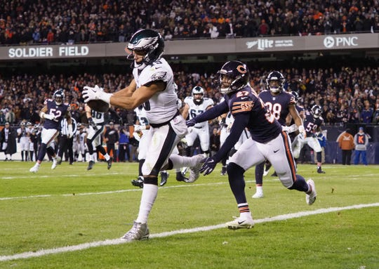 Philadelphia Eagles receiver Golden Tate catches the go-ahead touchdown against Chicago Bears defensive back Sherrick McManis late in the fourth quarter of an NFC wildcard playoff game at Soldier Field, Jan. 6, 2019 in Chicago.