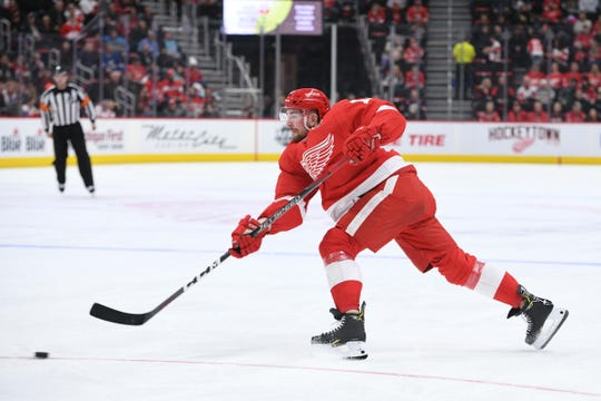 Filip Hronek shoots during the second period against the Capitals at Little Caesars Arena on Sunday.