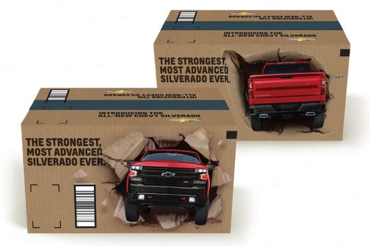 In an automotive industry first, the Chevy Silverado will break through the traditional brown packaging on 7.1 million Amazon boxes.