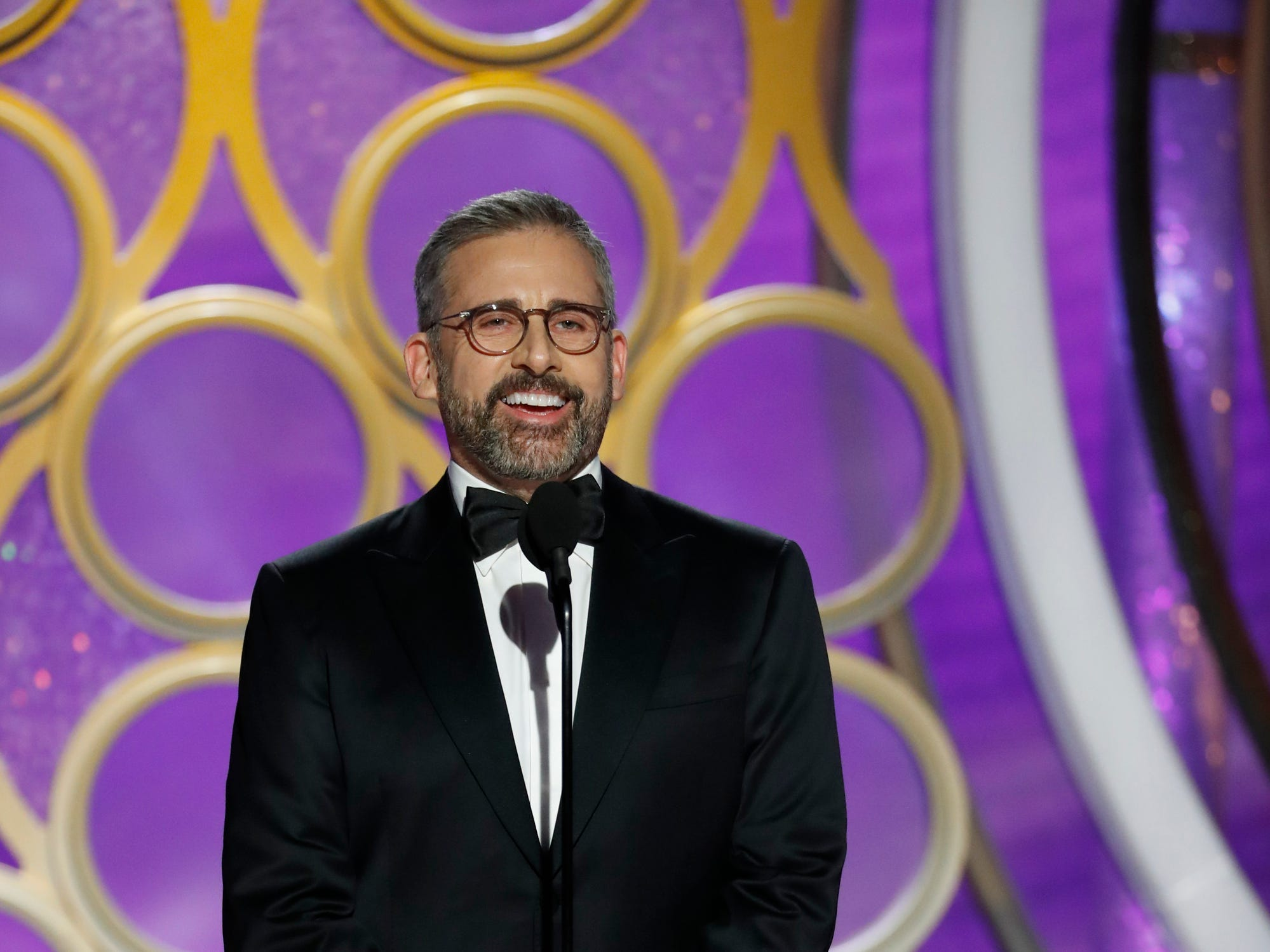 This image released by NBC shows presenter Steve Carell during the 76th Annual Golden Globe Awards at the Beverly Hilton Hotel.