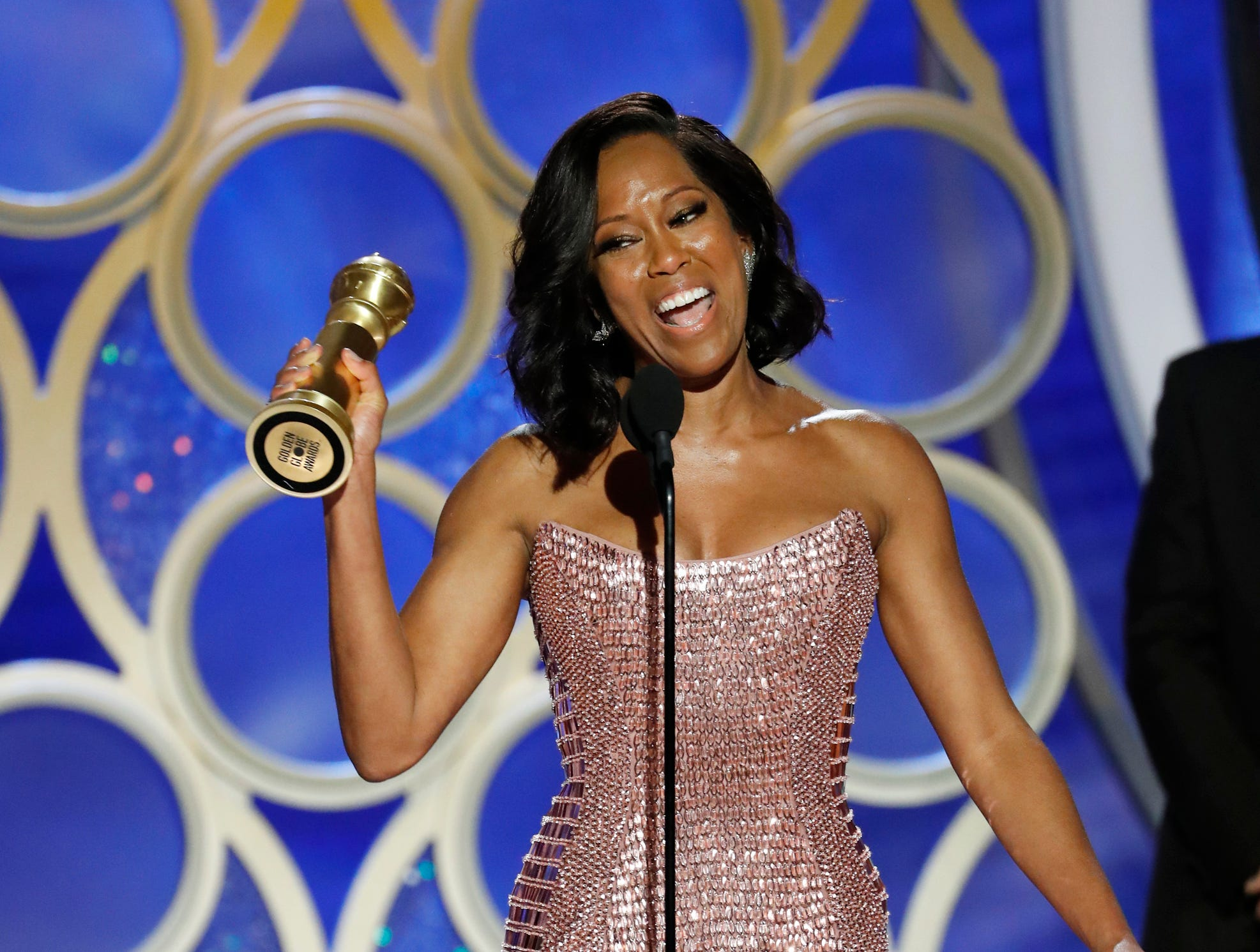 "This image released by NBC shows Regina King accepting the award for best supporting actress in a motion picture for her role in ""If Beale Street Could Talk"" during the 76th Annual Golden Globe Awards at the Beverly Hilton Hotel."