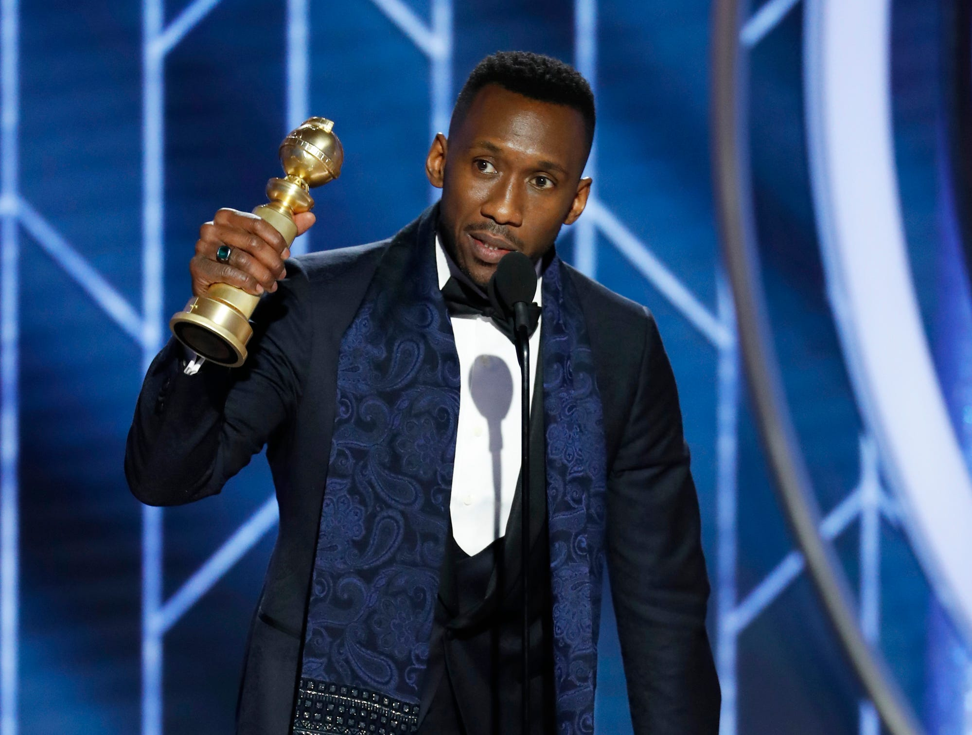 "This image released by NBC shows Mahershala Ali accepting the award for best supporting actor in a motion picture for his role in ""Green Book"" during the 76th Annual Golden Globe Awards at the Beverly Hilton Hotel."