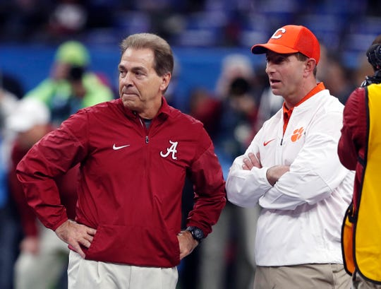 Alabama's Nick Saban, left, and Clemson's Dabo Swinney meeting for a College Football Playoff contest has become a familiar sight.