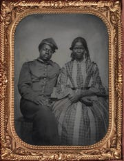 """""""Untitled (Solider and Companion),"""" around 1861–65, Unknown Photographer,"""" tintype. Detroit Institute of Arts"""