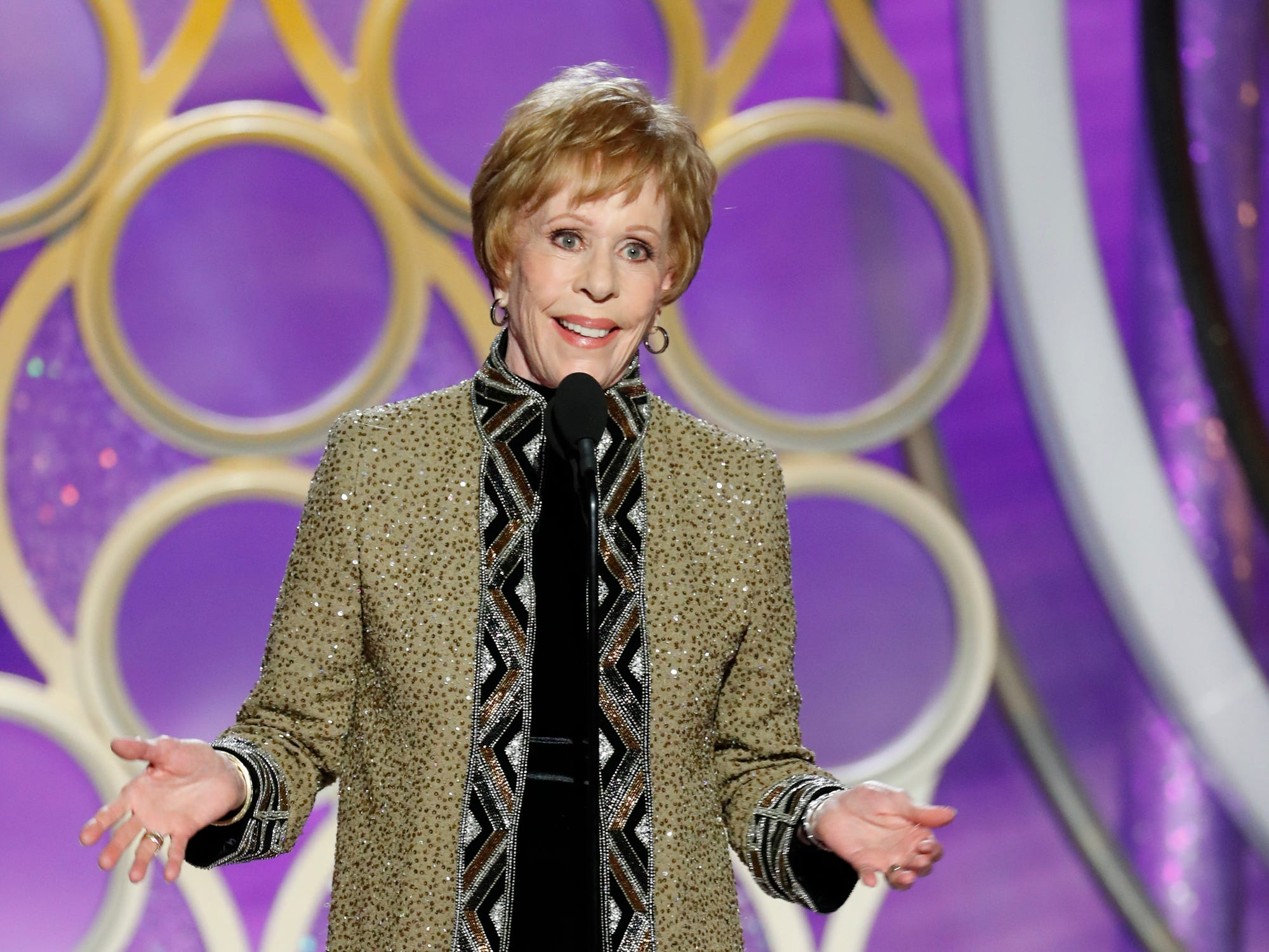 This image released by NBC shows Carol Burnett accepting the inaugural Carol Burnett TV Achievement Award during the 76th Annual Golden Globe Awards at the Beverly Hilton Hotel.