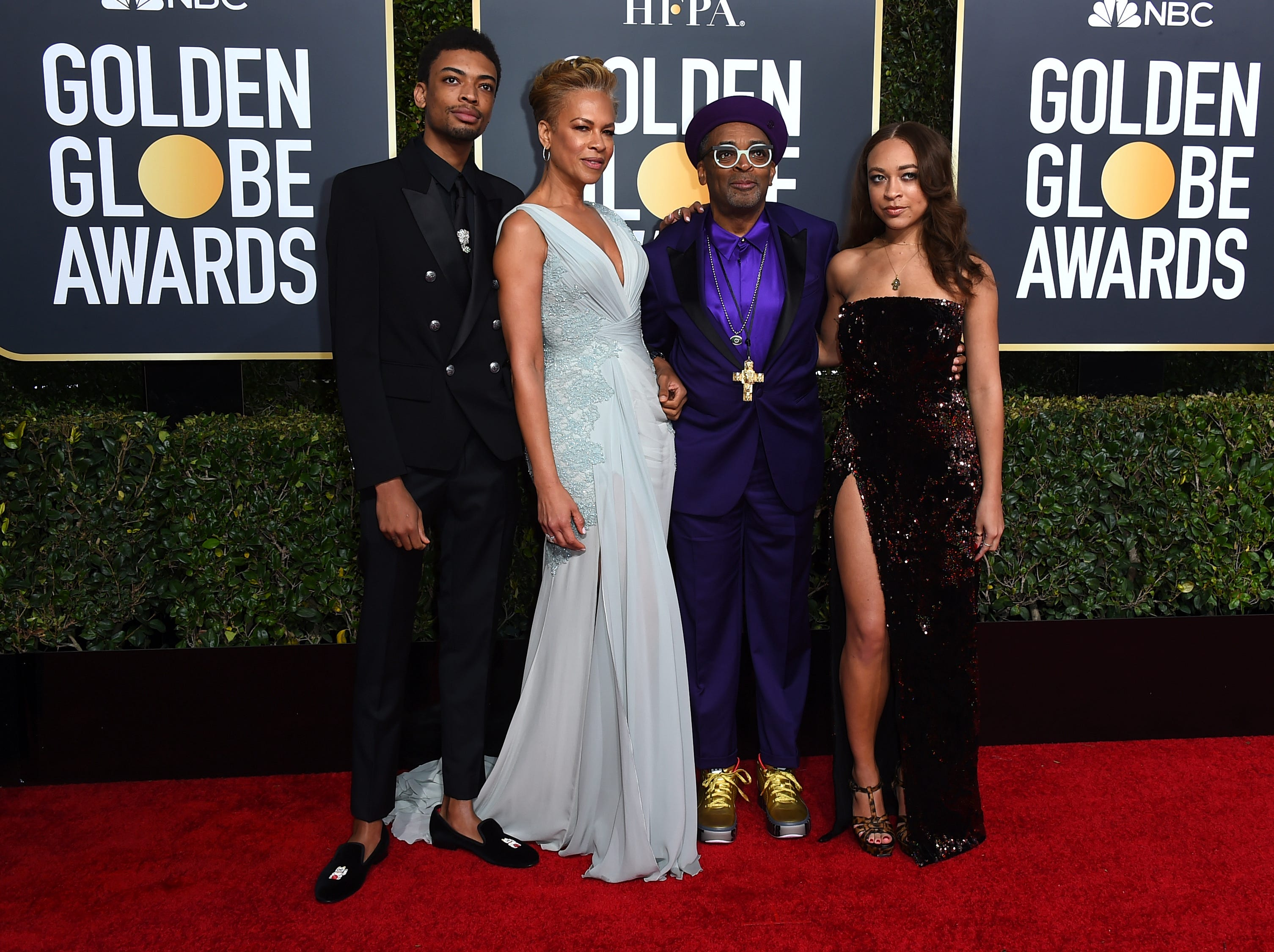 Spike Lee, second right, and from left, son Jackson Lee, wife Tonya Lewis Lee and daughter Satchel Lee arrive at the 76th annual Golden Globe Awards at the Beverly Hilton Hotel.